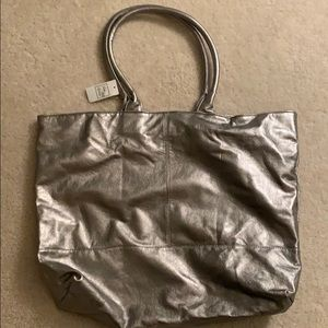 Silver tote from saks